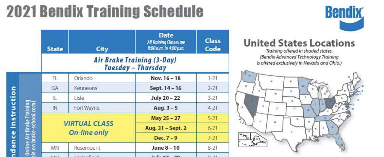 Bendix Announces 2021 Technical Training Sessions